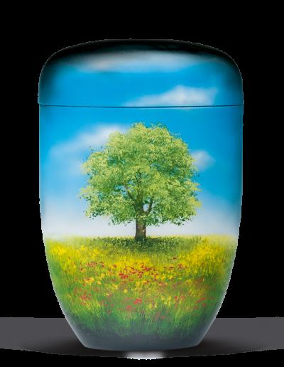 """25-3632 Schwarz Handgemalt """"Baum im Blumenfeld"""""""